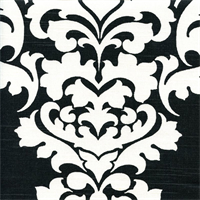Berlin Shadow Black Slub Floral Drapery Fabric by Premier Prints