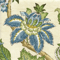 Boscobel Cornflower Blue Floral Drapery Fabric Swatch