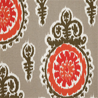 Michelle Salmon Orange Ikat Floral Outdoor Fabric by Premier Prints