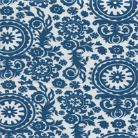 Royal Blue Moon Suzani Floral Outdoor Fabric by Premier Prints Swatch