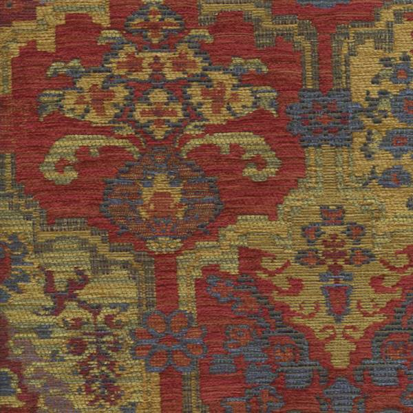 Totem Jewel Red Aztec Chenille Upholstery Fabric - Chenille upholstery fabric