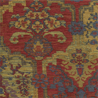 Totem Jewel Red Aztec Chenille Upholstery Fabric Swatch