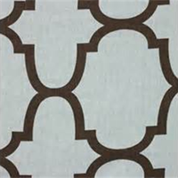Moroccan Tile Brown Blue Contemporary Linen Drapery Fabric 2 Yard Piece