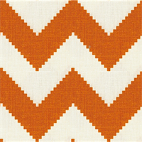 Peeking Chevron Orange Linen Drapery Fabric 1 Yard Piece