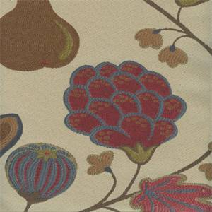 Eden Jewel Red Floral Fruit Upholstery Fabric
