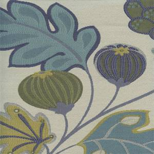 Eden Seaglass Blue Green Floral and Fruit Upholstery Fabric