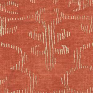 Decor Orange Floral Contemporary Linen Blend Drapery Fabric
