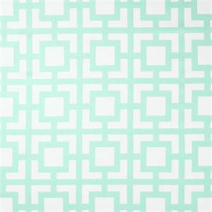 Gigi Mint Green Cotton Twill Geometric Print Drapery Fabric