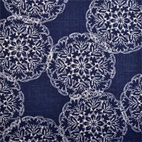 Danda Indigo Blue Floral Print Drapery Fabric by Duralee