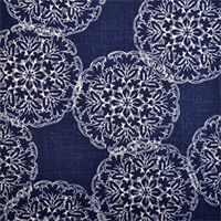Danda Indigo Blue Floral Print Drapery Fabric by Duralee Swatch