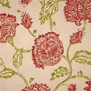 Agathe Natural Pink Floral Print Drapery Fabric by Duralee Swatch