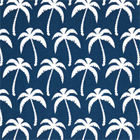 Outdoor Palms Oxford Blue Fabric Print by Premier Prints Swatch