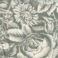 Sketch Floral Grey Print Drapery Fabric 1 Yard Piece