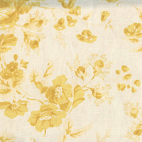 Flowers Yellow Print Drapery Fabric 1 Yard Piece
