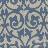 Scroll Cobalt Blue CottonDrapery Fabric Swatch