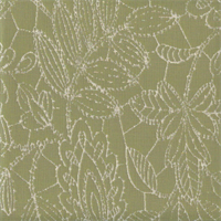 Sunbrella FF 45831-0001 Green Ivory Floral Leaf Stitch Outdoor Fabric 7 Yard Piece