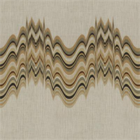 Shock Waves Camel Brown Linen Drapery Fabric 1 Yard Piece