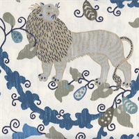 Maneka Indian Sea Blue Animal Print Drapery Fabric