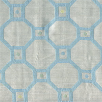 Ferris Wheel Seaglass Blue Contemporary Faux Silk Fabric