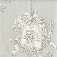 Angel Toile Silver Drapery Fabric by P Kaufmann