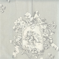 Angel Toile Silver Drapery Fabric by P Kaufmann Swatch