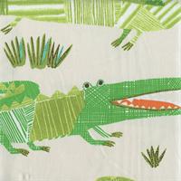 Croc Rock Jungle Green Animal Print Drapery Fabric by P Kaufmann Swatch