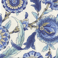 Grand Bazaar Aegean Blue Floral Drapery Fabric Swatch