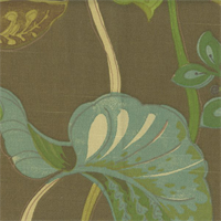 Aquatic Tango Bark Brown Floral Drapery Fabric Swatch