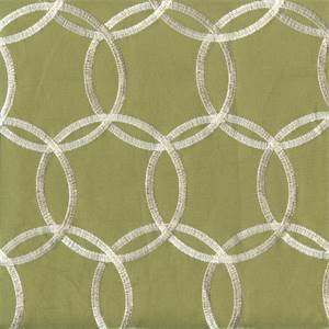 Inner Circle Artichoke Green Embroidered Contemporary Drapery Fabric Swatch