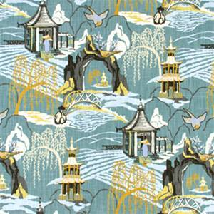 Neo Toile Cove Blue Print Drapery Fabric by Robert Allen Swatch