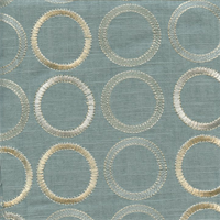 Society Grove Mist Blue Embroidered Linen Drapery Fabric