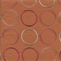 Society Grove Amber Orange Embroidered Linen Drapery Fabric