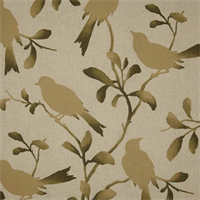 Rockin Robin Driftwood Bird Cotton Drapery Fabric