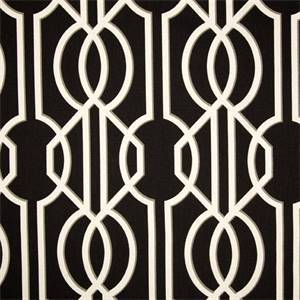 Deco Onyx Black Contemporary Cotton Print Drapery Fabric by Premium Prints