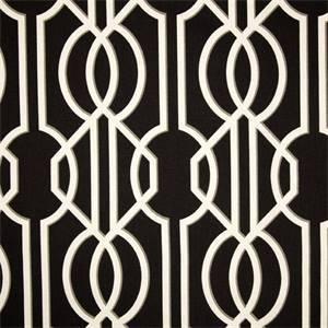 Deco Onyx Black Contemporary Cotton Print Drapery Fabric by Magnolia