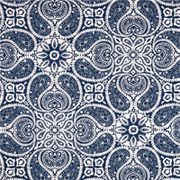 Tibi Navy Blue Paisley Cotton Print Drapery Fabric by Premium Prints