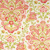 Provence Poppy Orange Floral Cotton Print Drapery Fabric by Premium Prints Swatch