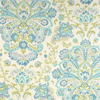 Provence Ocean Blue Floral Cotton Print Drapery Fabric by Premium Prints Swatch