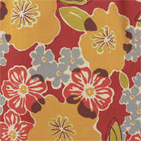 Sydney Berry Red Floral Cotton Print Drapery Fabric by Premium Prints