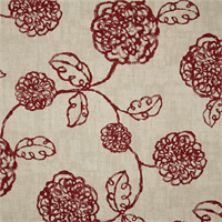 Adele Crimson Red Floral Cotton Print Drapery Fabric by Richtex Premium Prints