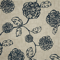 Adele Navy Blue Floral Cotton Print Drapery Fabric by Richtex Premium Prints