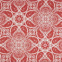 Tibi Cayenne Red Paisley Cotton Print Drapery Fabric by Premium Prints 30 Yard Bolt