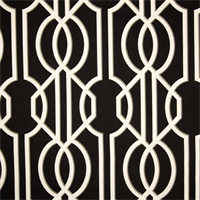 Deco Onyx Black Contemporary Cotton Print Drapery Fabric by Richtex Premium Prints 30 Yard Bolt