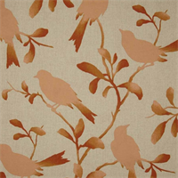 Rockin Robin Coral Bird Cotton Drapery Fabric Swatch