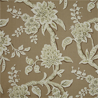 Brookhaven Nature Tan Floral Cotton Print Drapery Fabric by Richtex Premium Prints