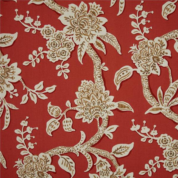 2 YD PC Brookhaven Poppy Red Floral Cotton Print Drapery Fabric By Richtex Premium Prints