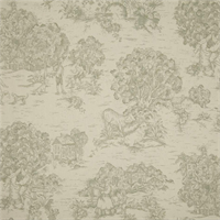 Quaker Spa Green Toile Cotton Print Drapery Fabric by Premium Prints