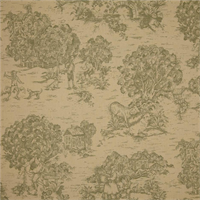 Quaker Pine Green Toile Cotton Print Drapery Fabric by Premium Prints