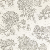 Quaker Slate Grey Toile Cotton Print Drapery Fabric by Premium Prints