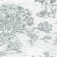Quaker Lake Blue Toile Cotton Print Drapery Fabric by Premium Prints